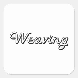 Weaving Classic Retro Design Square Sticker