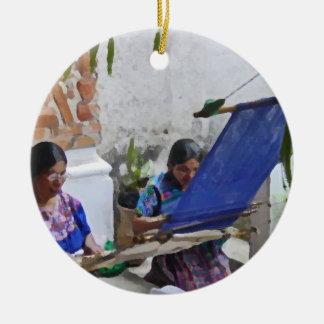 Weaving in Antigua drybrush Christmas Ornament