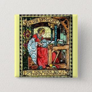 Weaving Woman 15 Cm Square Badge