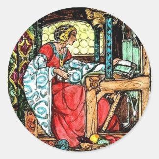 Weaving Woman Round Sticker