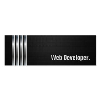 Web Developer - Black Silver Stripes Pack Of Skinny Business Cards