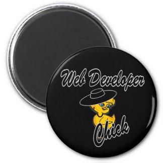 Web Developer Chick #4 6 Cm Round Magnet