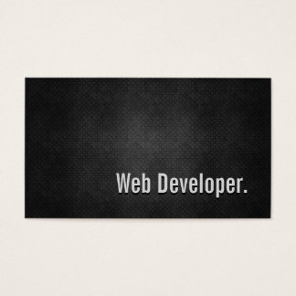 Web Developer Cool Black Metal Simplicity Business Card