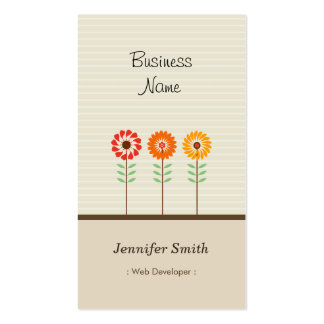 Web Developer - Cute Floral Theme Pack Of Standard Business Cards