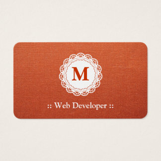 Web Developer - Elegant Lace Monogram Business Card