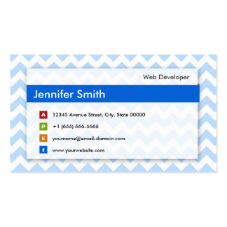 Web Developer - Modern Blue Chevron Pack Of Standard Business Cards