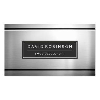 Web Developer - Premium Silver Metal Pack Of Standard Business Cards