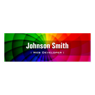 Web Developer - Radial Rainbow Colors Pack Of Skinny Business Cards