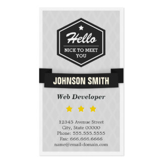 Web Developer - Say Hello in Retro Style Pack Of Standard Business Cards