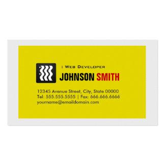 Web Developer - Urban Yellow White Business Card Templates