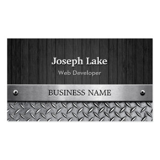 Web Developer - Wood and Metal Look Pack Of Standard Business Cards