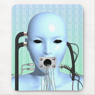 Web Head Modern Surreal Art Mouse Mat