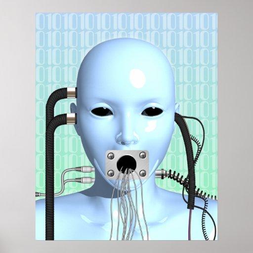 Web Head Modern Techno Industrial Surreal Art Poster
