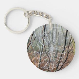 Web of European Garden Spider Key Ring
