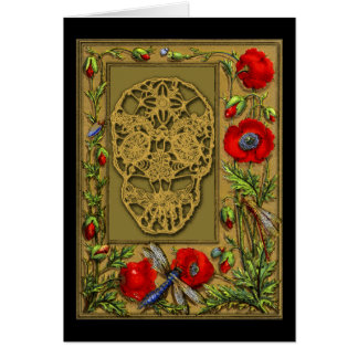 Webbed Skull Day of the Dead Halloween Gothic Card