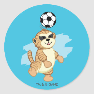Webkinz   Meerkat Playing Soccer 2 Round Sticker
