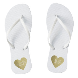wed love celebration personalized gold heart flip flops