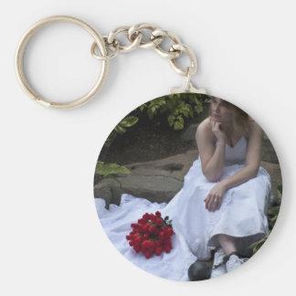 WedBallChainVert091810 Basic Round Button Key Ring
