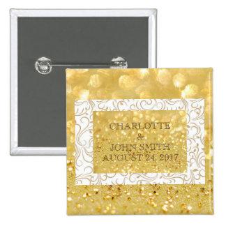 Weddin Personalised Gold White Badges