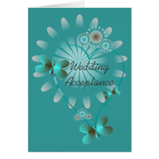 Wedding Acceptance Card Butterfly Hearts