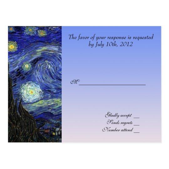 wedding acceptance card, van gogh starry night postcard