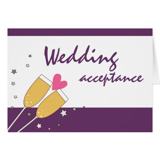 Wedding Acceptance Champagne Toast- Purple Card