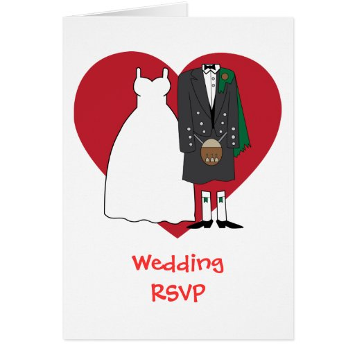 Wedding acceptance Scottish Bride & Groom Greeting Card