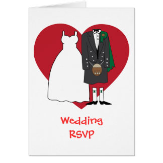 Wedding acceptance Scottish Bride & Groom Greeting Card