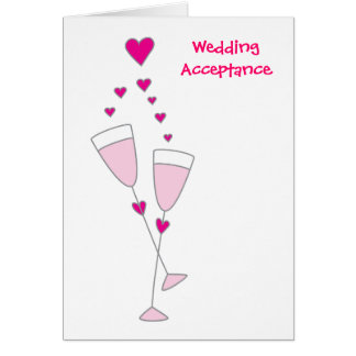 Wedding acceptance simple champagne toast card