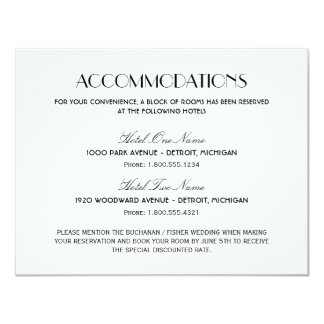 Wedding Accommodation Card   Art Deco Style 11 Cm X 14 Cm Invitation Card