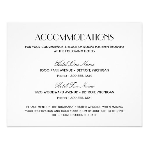 Wedding Invitation Accommodation Card Wording was luxury invitations sample