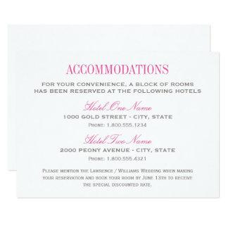 Wedding Accommodation Card | Fuchsia and Gray