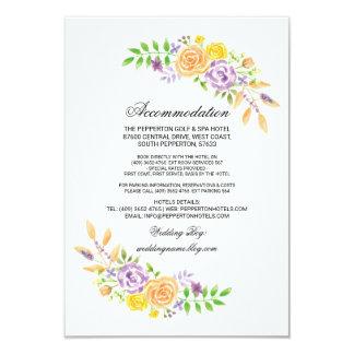 Wedding Accommodation Cards Purple Peach Inserts