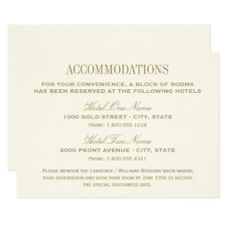 Wedding Accommodations Card | Ivory & Antique Gold