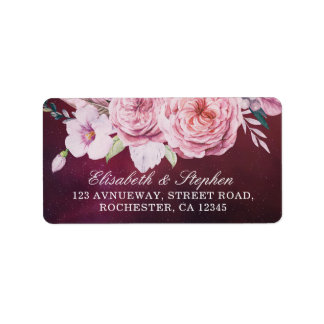 Wedding Address Boho Floral Feathers Burgundy Red Label