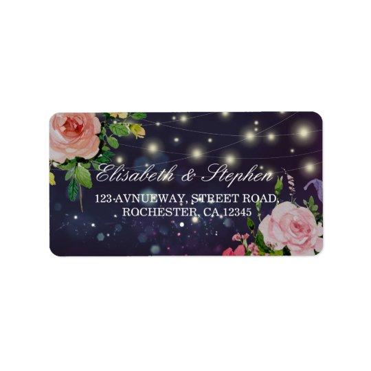 Wedding Address Elegant Floral Purple String Light Label