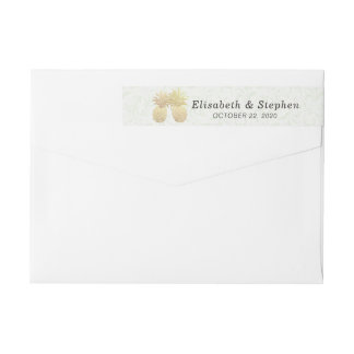 Wedding Address Gold Foil Pineapples Damask Paper Wrap Around Label