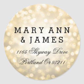 Wedding Address Gold Glitter Lights Classic Round Sticker
