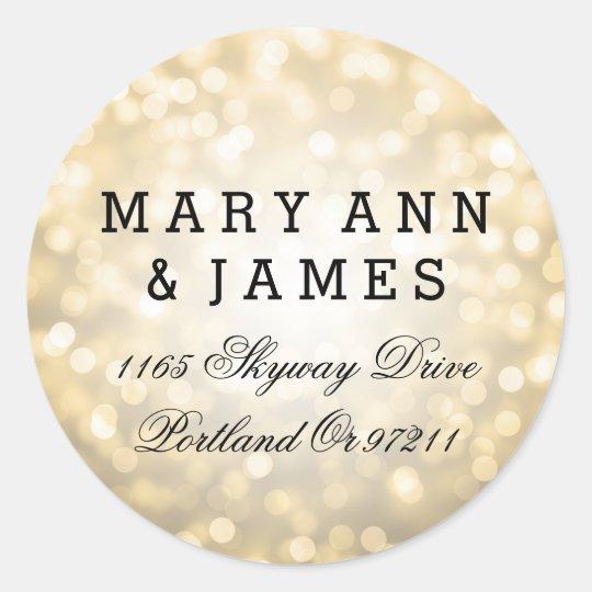 Wedding Address Gold Glitter Lights Round Sticker