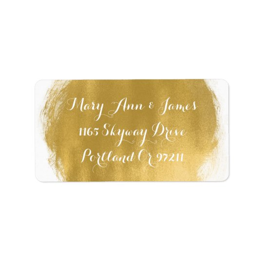 Wedding Address Gold Paint Look Label