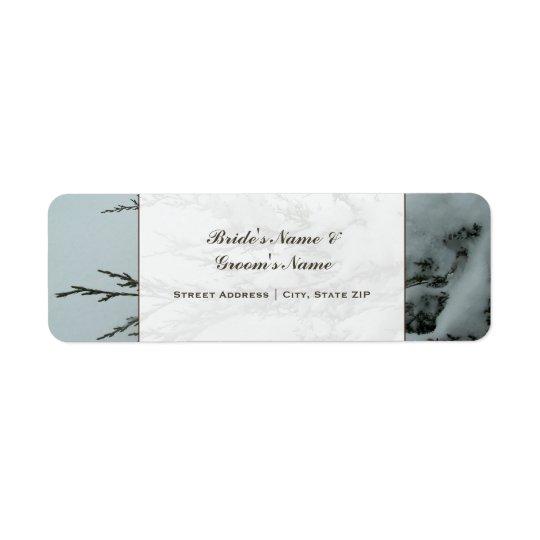Wedding Address Label - Evergreen Tree With Snow