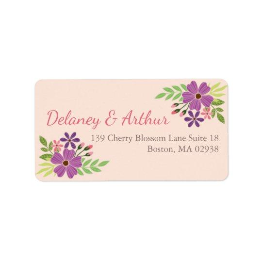 Wedding Address Label in Wild Flower Theme