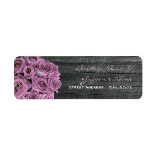 Wedding Address Label - Roses & Barnwood