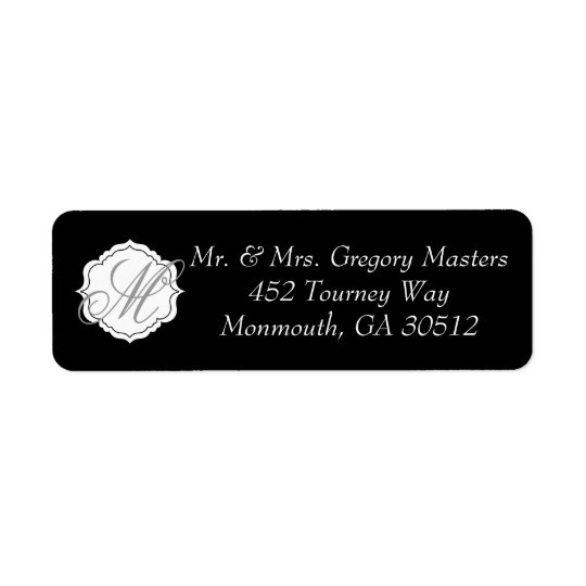 Wedding Address Labels in Black and White Monogram