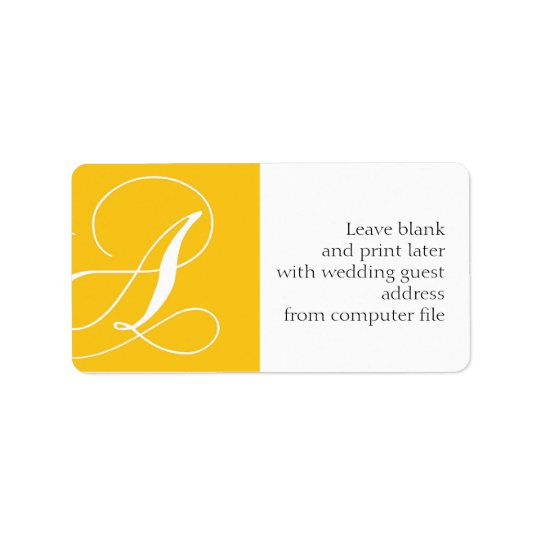 Wedding Address Labels Monogram A Yellow