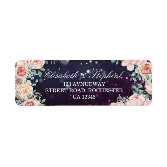 Wedding Address Modern Floral Purple Sparkle Light