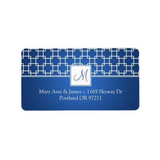 Wedding Address Monogram Trellis Pattern Blue Label