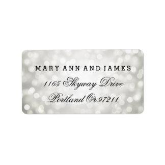 Wedding Address Silver Glitter Lights Label
