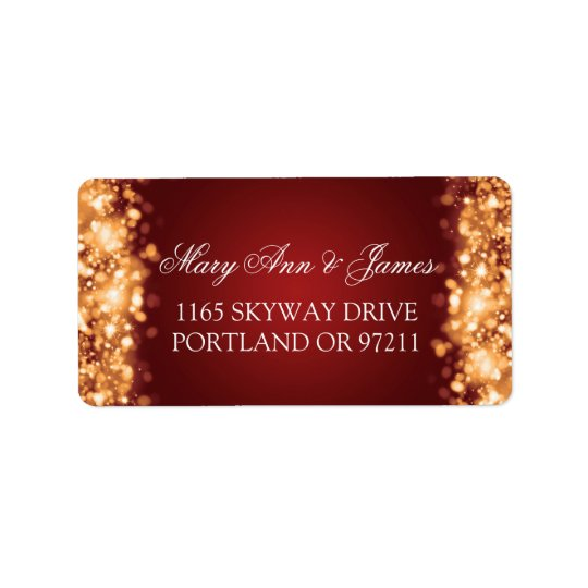 Wedding Address Sparkling Lights Gold Address Label