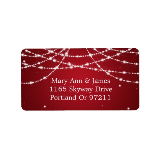 Wedding Address Sparkling String Red Address Label